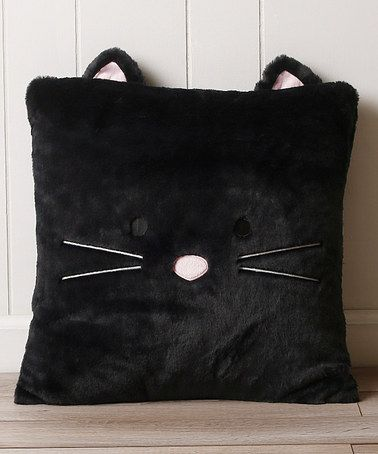 This Black Cat Plush Faux Fur Pillow is perfect! #zulilyfinds