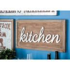 """24 in. x 12 in. Home and Health Wood and Metal """"Kitchen"""" Wall Sign, Browns/Tans"""