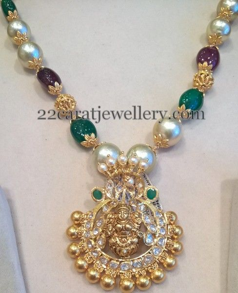 Large South Pearls Set Detachable Locket | Jewellery Designs