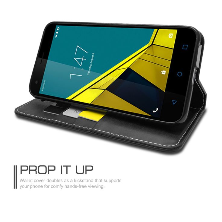 Luxury PU Leather Case Flip Cover with Card Slots & Stand For Vodafone Smart Ultra 6
