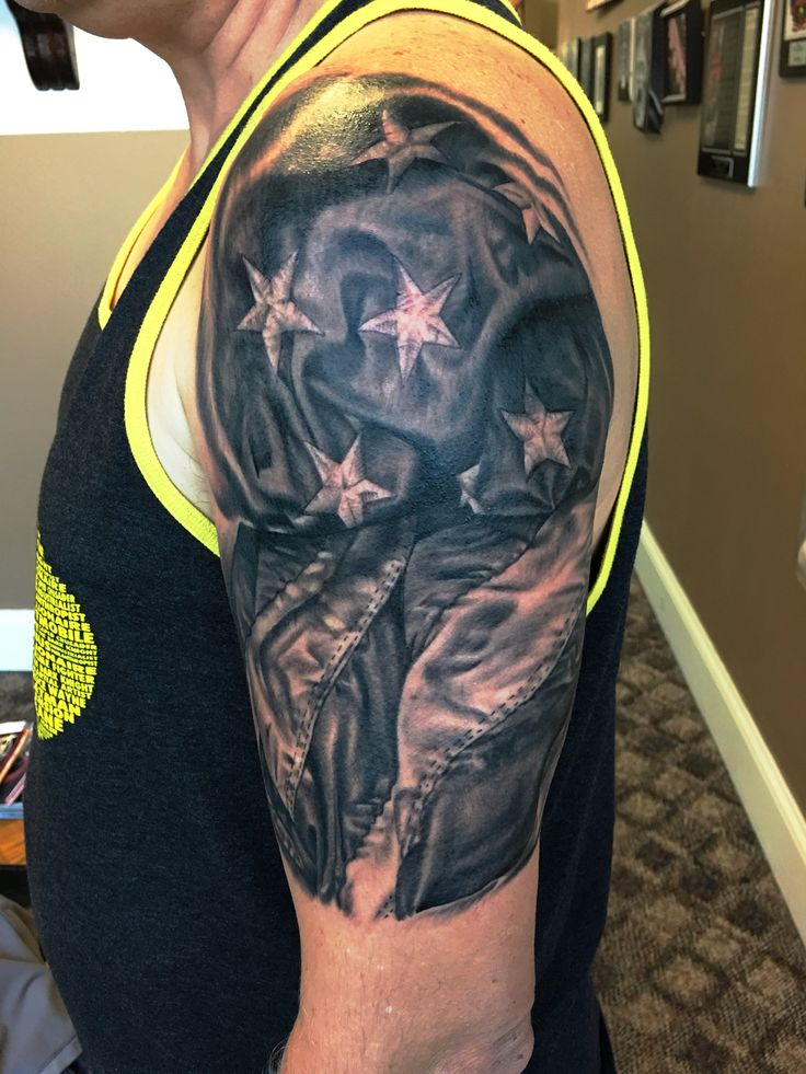 Black and gray - grey realistic American flag tattoo. Done ...