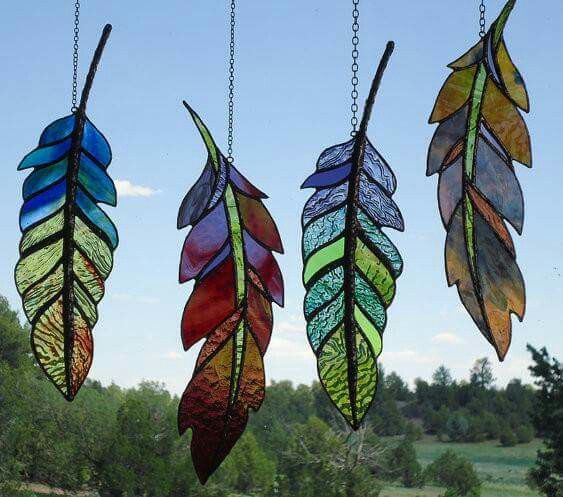 Good use for scrap glass!  Kim and Craig Young, 'Ghost Dance Feather' stained glass window panel