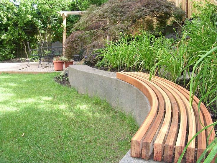 Curved Wood Bench Concrete Wall Patio Ideas Wall