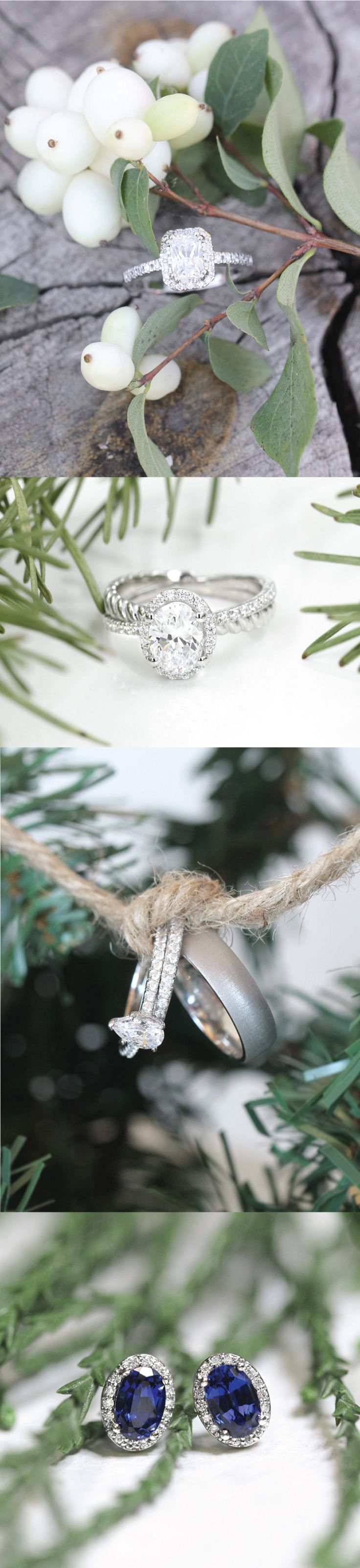 Top to bottom: Monica Engagement Ring, Terwilliger Two Tone Engagement Ring, Dove Wedding Set and Canyon Men's Band, Diamond Halo Earrings