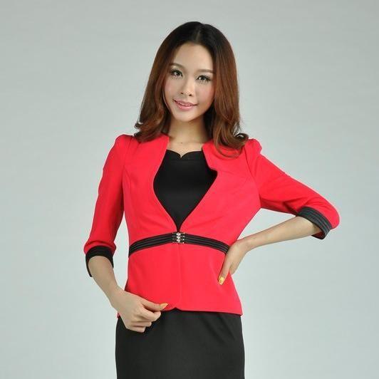 Cheap 2015 nueva Formal mujeres Blazers y chaquetas delgado rojo verano para para mujer señoras de la oficina chaquetas del desgaste del trabajo uniforme, Compro Calidad Blazers directamente de los surtidores de China:                Nuevo estilo , venta caliente !         Moda Mujeres   Blazer           Alta calidad, e