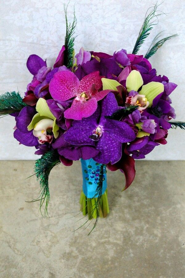 Jewel Tone/Peacock Wedding Bouquet: Purple & Fuchsia Phalaenopsis Orchids, Purple Lisianthus, Deep Purple Calla Lilies, Green Cymbidium Orchids, Teal Green Peacock Feathers Hand Tied & Wrapped With Satin Sequined Teal Ribbon^^^^