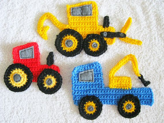 Apliques de ganchillo - excavadora, Tractor y camión de remolque - juego de 3