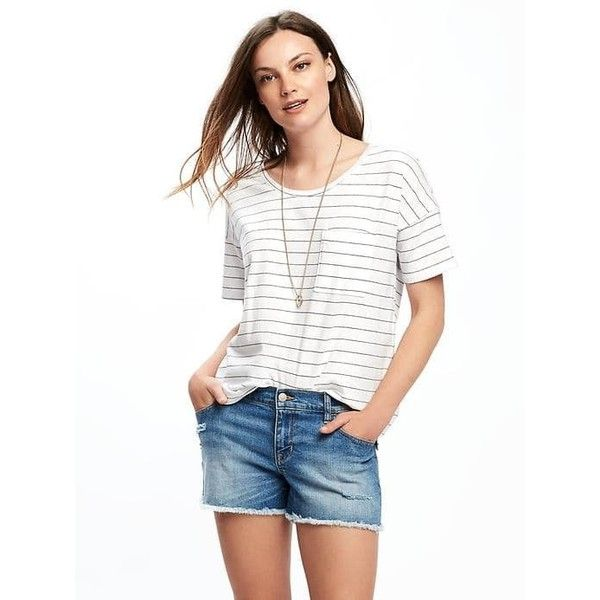 Old Navy Womens Boyfriend Pocket Tee ($9) ❤ liked on Polyvore featuring tops, t-shirts, petite, white, crew t shirts, white t shirt, petite tops, loose white t shirt and pocket t shirts
