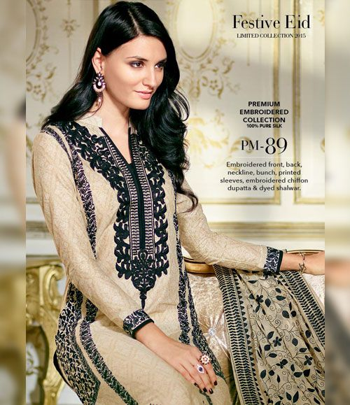 Gul Ahmed Premium Embroidered Chiffon Festive Collection 2015 PM-89
