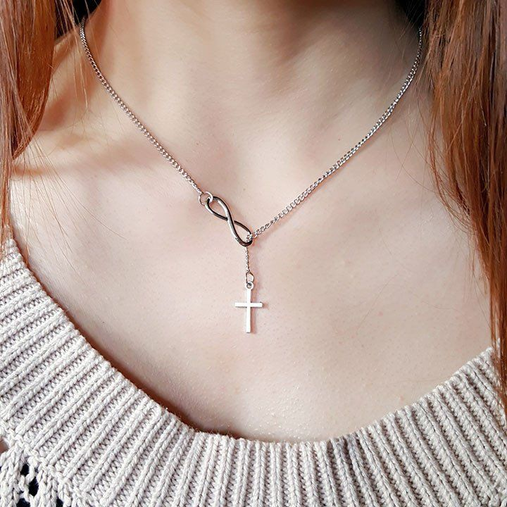 INFINITY SILVER CROSS CHAIN NECKLACE – C H I A R A S H O P