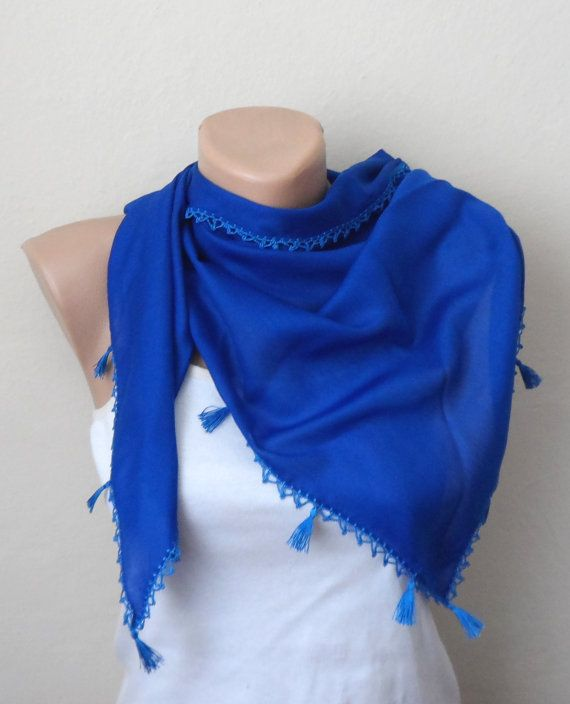 royal blue scarf cotton scarf blue scarf wrap yemeni by DamlaScarf