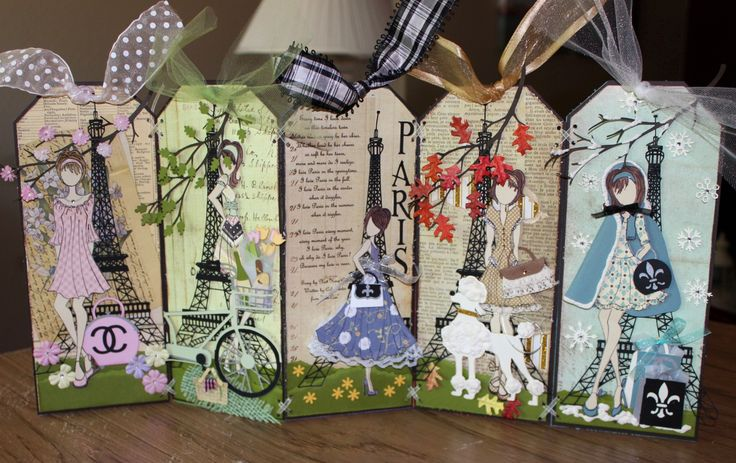 Paris Themed Paper Doll Garland created by Michele Lehane using Julia Nutting Paper Dolls Stamps