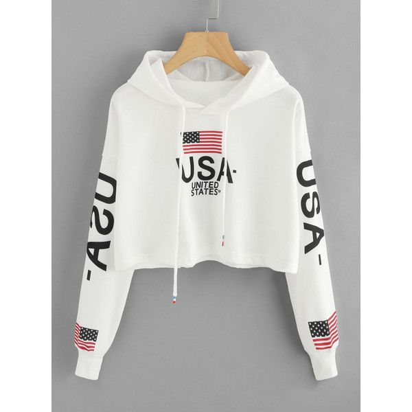 Drop Shoulder American Flag Print Hoodie ❤ liked on Polyvore featuring tops, hoodies, drop shoulder hoodie, hooded sweatshirt, hoodie top, usa flag hoodie and american flag hoodies