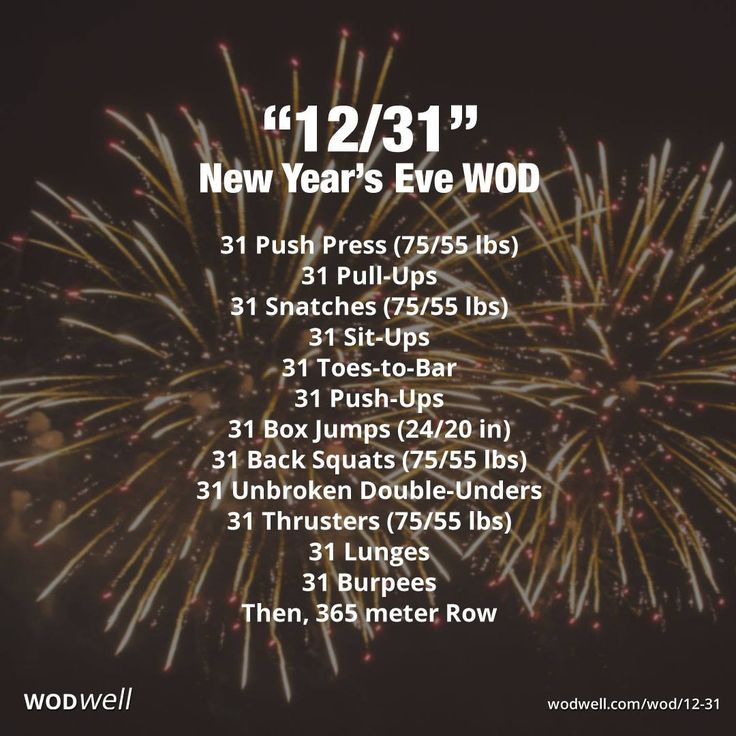 Finish the year strong on December 31! Countless New Year's Eve WODs are created… – Brooke