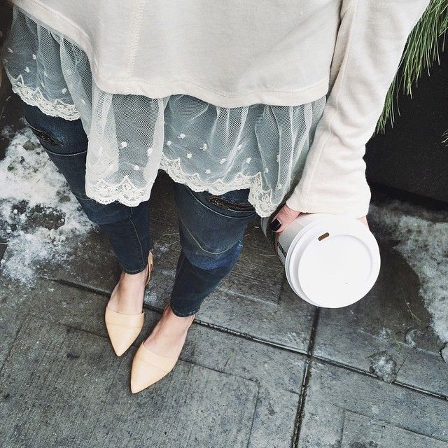 Tough girl denim + girly girl lace. Plus some dirty snow for good measure. #ootd #monday #coffee