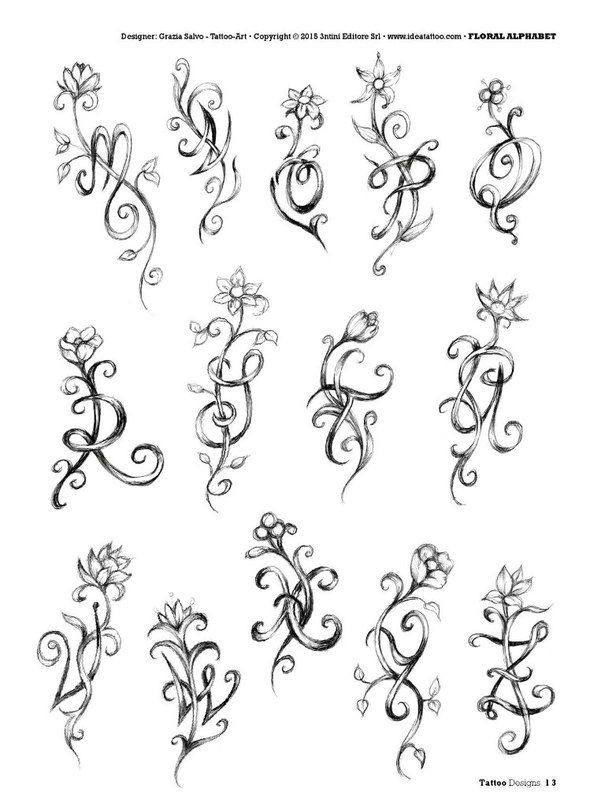 Butterfly Initials Tattoo Designs