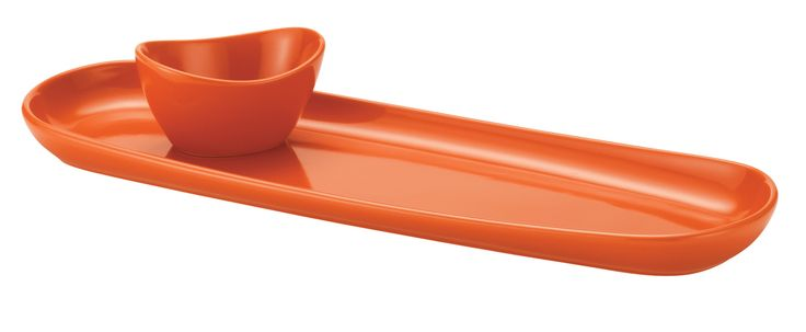 Stoneware Baguette Divided 2 Piece Chip and Dip Set