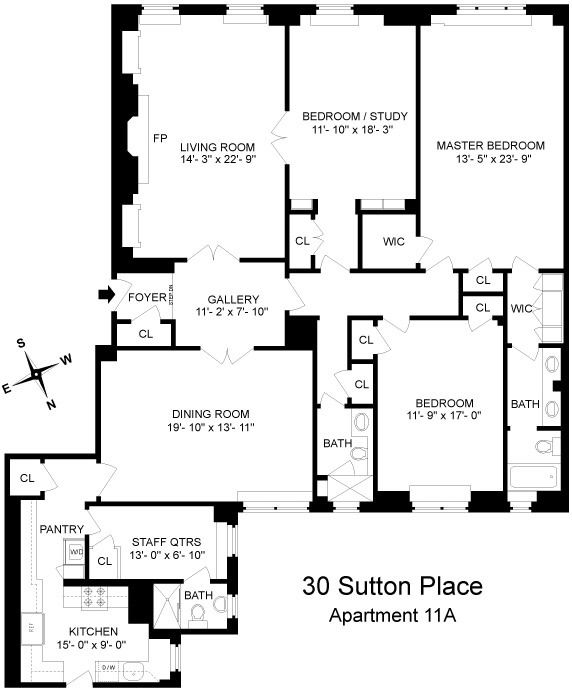 Floorplan For 3 Bedroom Apartment At 30 Sutton Place Apartment Floor Plans Floor Plans Nyc Townhouse