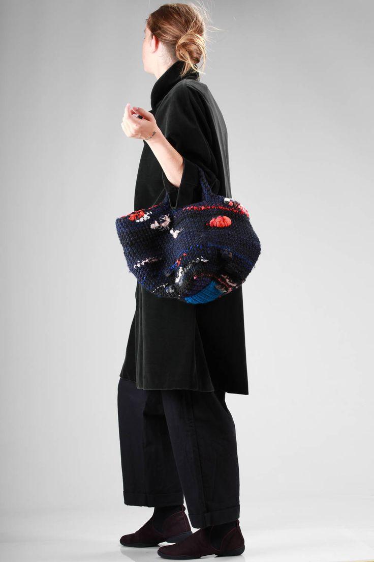 Daniela Gregis | wool crochet shopper bag with silk and cotton woven applications