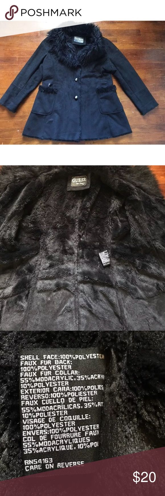 """Vintage guess faux fur oversized coat black medium Guess vintage fur coat!  Faux suede and fur  No size tag but guessing a medium from fit  Chest across 21""""  Sleeves 25""""  Length 31""""  Has a huge fur collar and fur trim in pockets  The one pocket has some sticky tape or something on it. I recommend this is dry cleaned as soon as you get it or before you wear.  There is some tiny piling/wear on the faux suede in some areas Guess Jackets & Coats"""