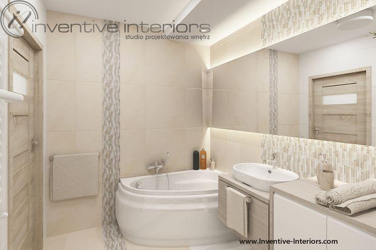 Projekt łazienki Inventive Interiors - przytulna jasna łazienka w beżach z kamienną mozaiką
