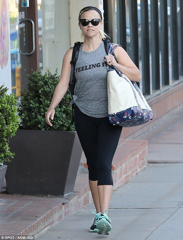 Work it: Reese Witherspoon, 41, headed to yoga in Brentwood on Monday