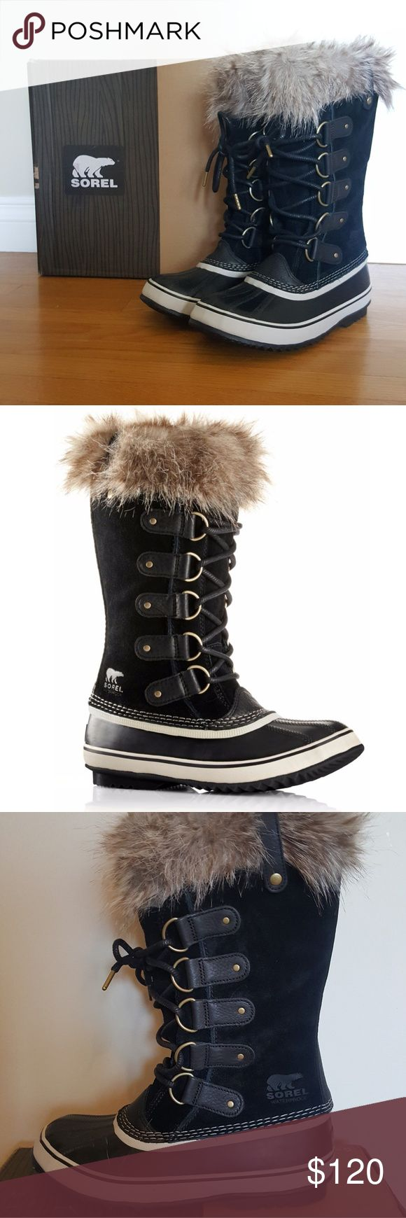 "SOREL ""Joan of Arctic"" black stone women's boots Brand new in box.  Never used.  Sorel Women's waterproof boots.  ---  Waterproof impermeable -- Full-grain leather & suede upper, super-soft faux fur around the cuff, removable, recycled felt inner boot to ensure that feet stay warm, dry and comfortable in cold winter conditions.   Great for snow!   Measure your foot standing up. Sorel Shoes Winter & Rain Boots"