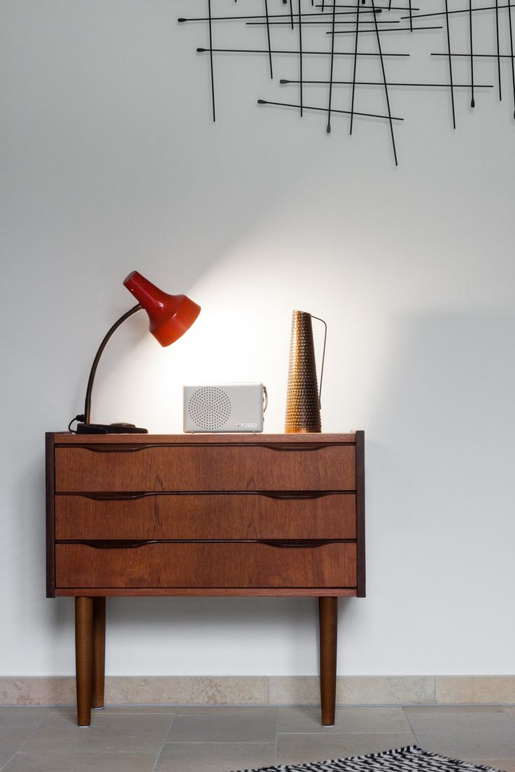 Small Danish Sideboard, vintage lamp, radio and copper vase