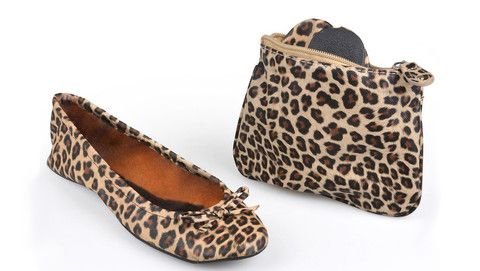 Sidekicks Leopard print foldable ballet flats with case