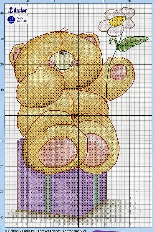Bear with Flower (site has many adorable teddy bear charts)