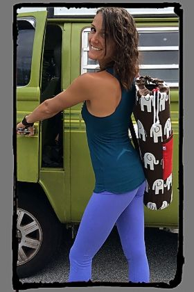 This Sturdy Canvas mat bag is Hand Made in Costa Rica for Squeezed Yoga Clothing.http://squeezed.ca/shop/yoga-mat-bag