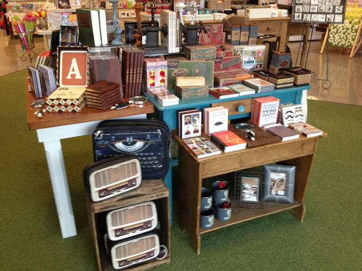 Handsome product display table at sam flax atlanta for Table top display ideas