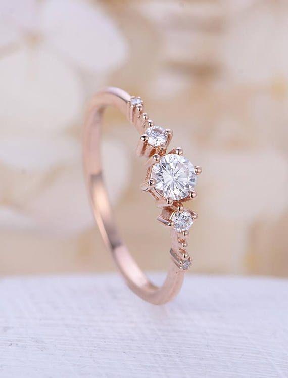 Unique Engagement Ring Rose Gold Moissanite Engagement Ring Vintage