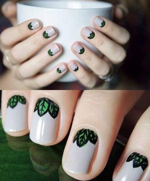 green fairy *leaf* nail art <3