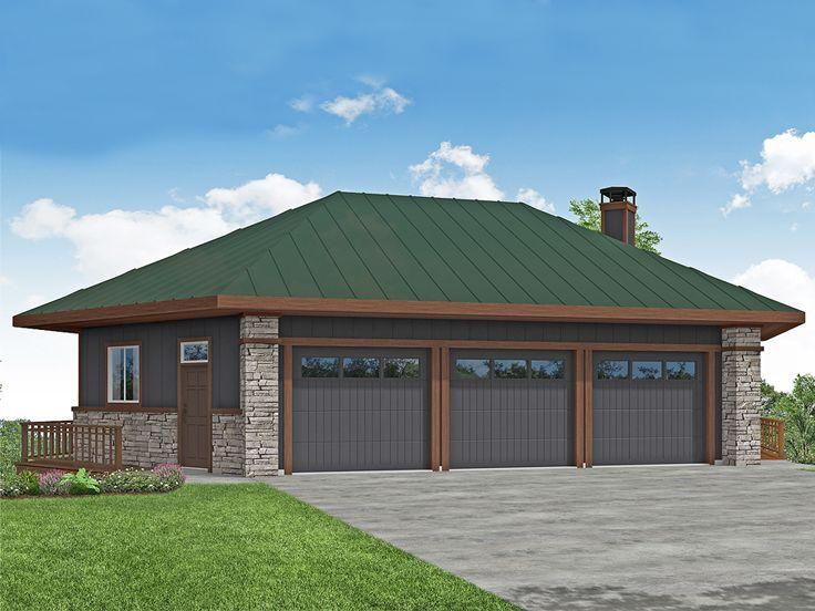 051g 0131 Unique 6 Car Garage For Sloping Lot In 2020 Garage Plan Large Garage Plans Architectural Design House Plans