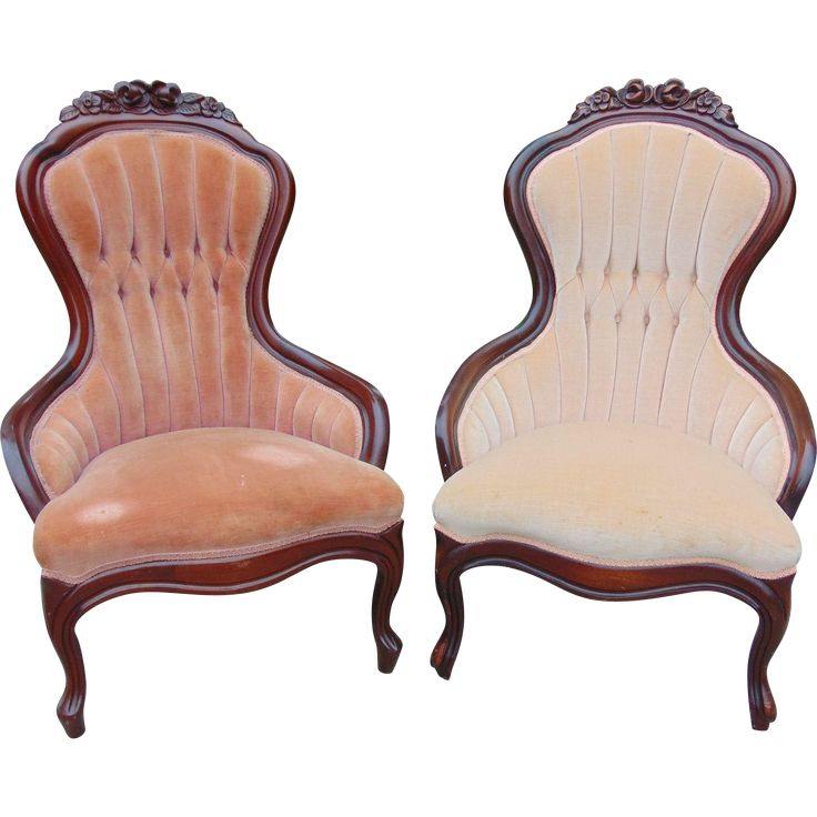 Pair Of Victorian Walnut Armchairs On Rubylane Com Old