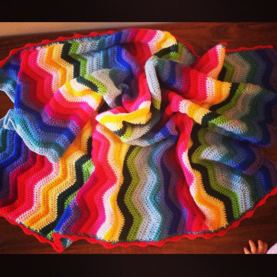 Hand crochet rainbow blanket by Handcraftforbabies on Etsy