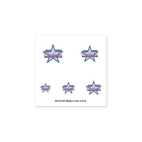 Dallas Cowboys Cheerleaders logo Tattoos - Fingernails by NFL. $1.99. Officially licensed temporary fingernail tattoos. Each tattoo package comes with a collection of 4 sheets nail temporary tattoos to give you enough for hands and feet, or two wearing. Tattoos are applied with a wet cloth and easily removed with clear tape. We recommend for nails to clear coat them after application. Made in USA.