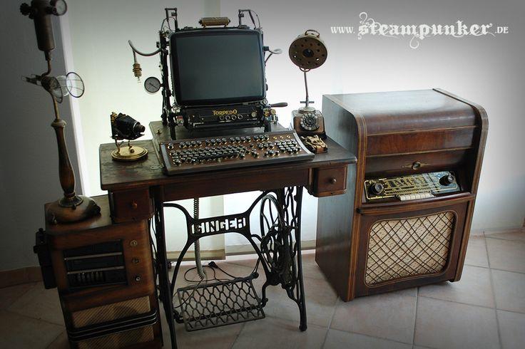 steampunk furniture | ... steampunk computer table, steampunk computer, steampunk monitor, a