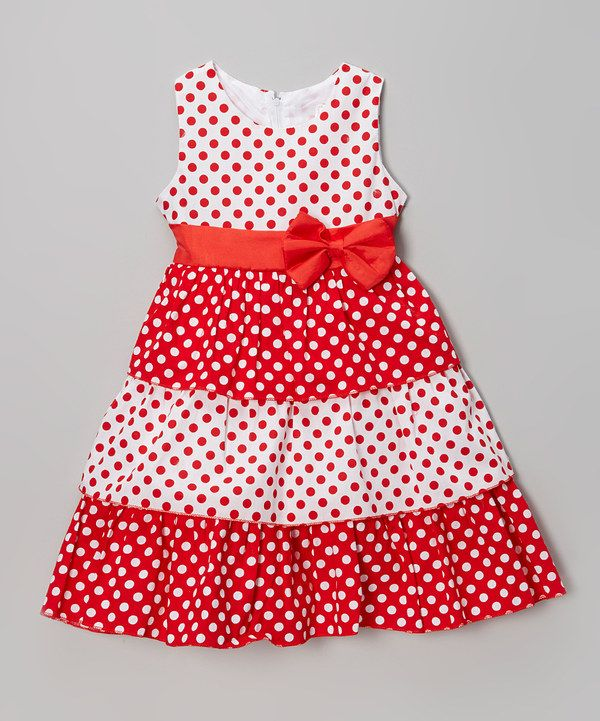 Look what I found on #zulily! Red & White Polka Dot Bow Dress - Girls by S Square #zulilyfinds