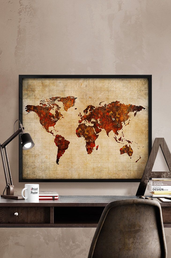 World map poster, Art Print, World map vintage style, Art, Illustration, World map, Artwork, Abstract, wall art, Home Decor, iPrintPoster. by iPrintPoster on Etsy https://www.etsy.com/listing/233937763/world-map-poster-art-print-world-map