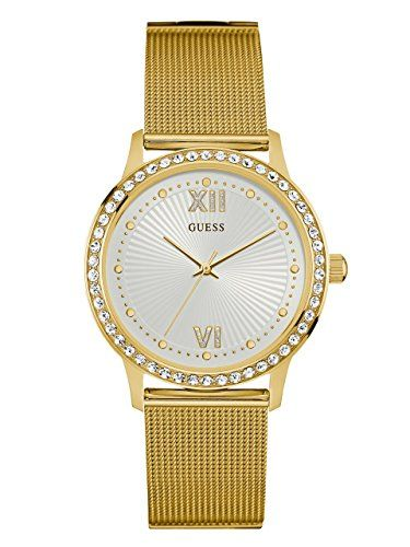 GUESS Womens U0766L2 Dressy GoldTone Watch with White Dial  CrystalAccented Beze...