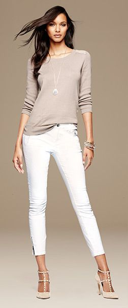white skinnies + beige top by Banana Republic | skirttheceiling.com