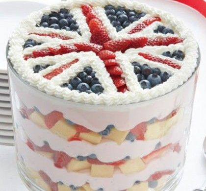 BabyZone: 12 Baby Shower Ideas for the Anglophile | Red, White and Blue Trifle