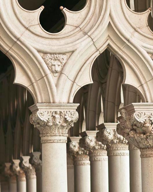 Venice. Romanesque arches and columns.