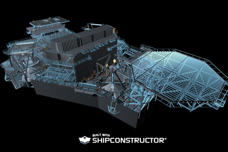 Autodesk Navisworks 3D engineering model rendering of the Letourneau Super 116E. A self elevating mobile offshore drilling platform, an evolution of the Letourneau 116-C design.