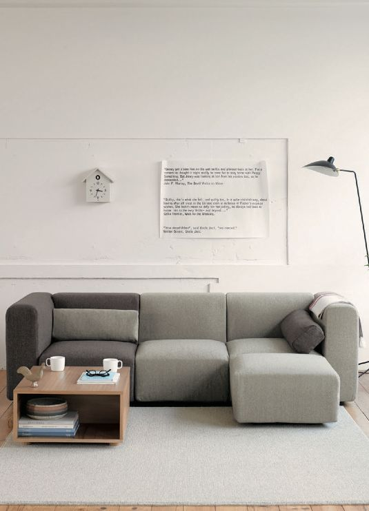 Modern living room: minimalistic design, geometric shapes and limited colour palette
