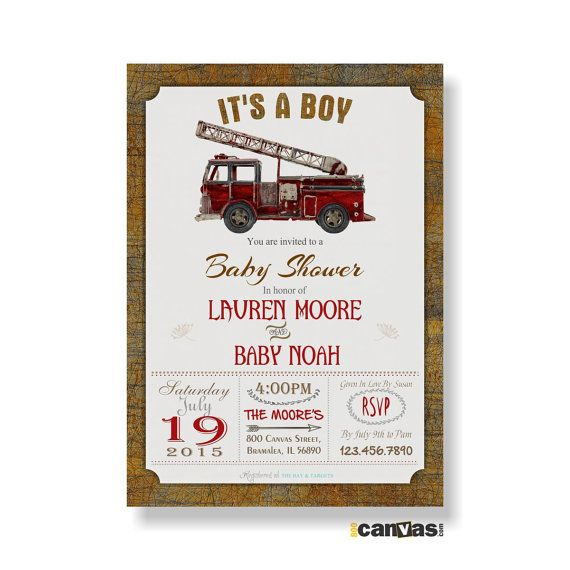Firetruck Baby Shower Invitation - Rustic Vintage Fire Truck Baby Shower Invite - Boys Baby Shower - Shabby Rustic Printable - Emailable 9