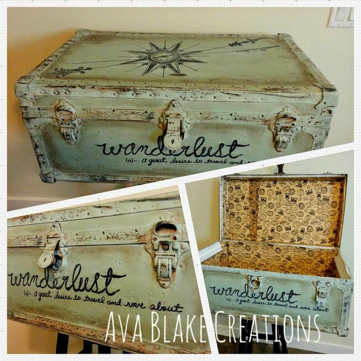 I LOVE LOVE LOVE recreating furniture but vintage trunks are for sure one of my favorites. This one totally spoke to me and wanted to be a traveler! As I've sai…