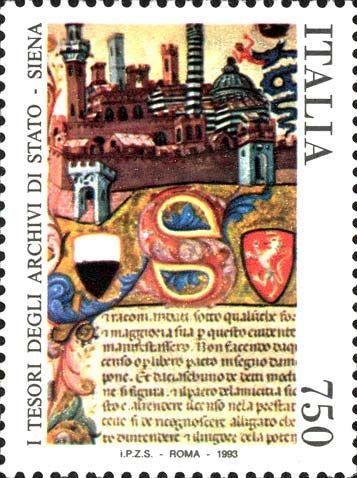 """1993 - Tesori dei musei e degli archivi nazionali: Archivio di stato di Siena - pergamena miniata della città di Siena del XV secolo tratta dal """"Libro dei Censi"""""""